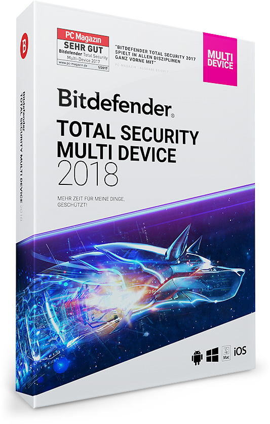 Bitdefender Total Security 2018 – 1, 3, 5 oder 10 Geräte / PC   1, 2 und 3 Jahre