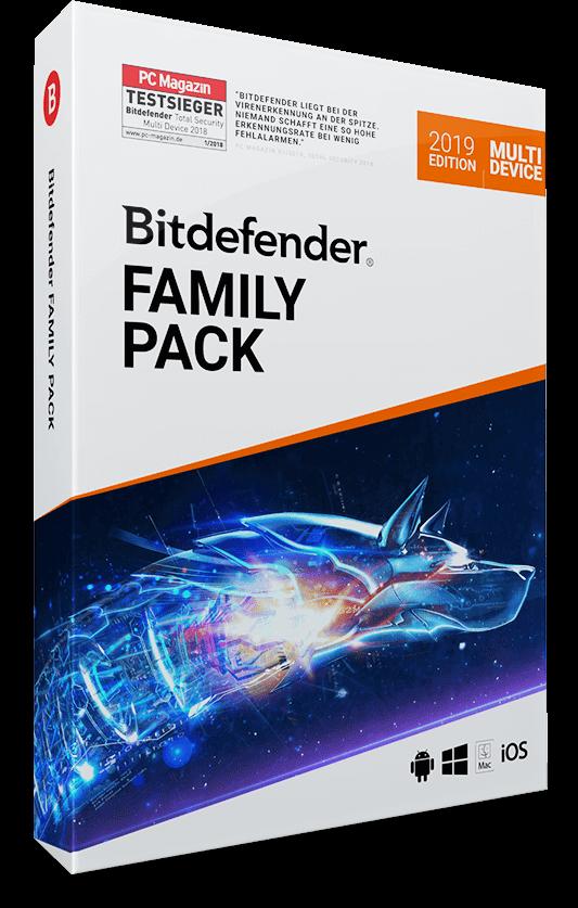 Bitdefender Family Pack 2019 / 2020 – bis zu 15 Geräte – 1 Jahr / 365 Tage