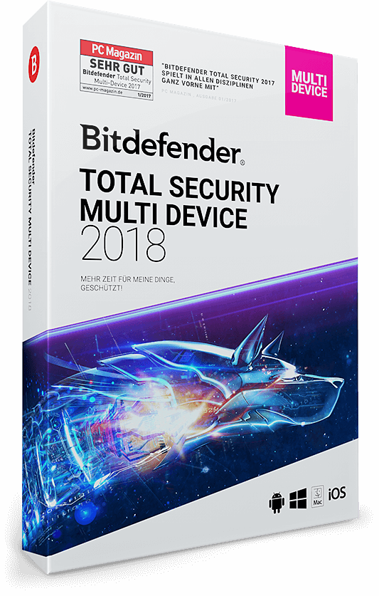 Bitdefender Total Security Multi Device 2018 - 3 Geräte | 3 Jahre (Download)