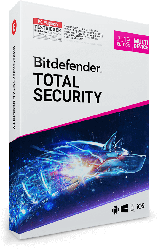 Bitdefender Total Security Multi Device 2019 / 2020 - 5 Geräte & PC | 1 Jahr