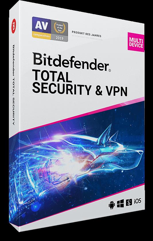 Bitdefender Total Security + Premium VPN  – 10 Geräte | 1 Jahr